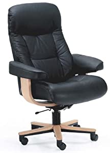 Fjords Muldal Office Desk Chair Genuine Leather Norwegian Ergonomic Scandinavian Small Task Chair in Black Leather Teak Wood