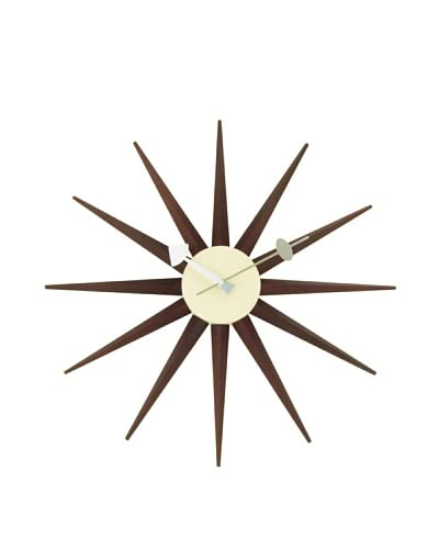 George Nelson Classic Wooden Sunburst Clock, Walnut