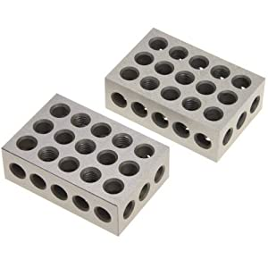 "Anytime Tools 1-2-3 Blocks Matched Pair Hardened Steel 23 Holes (1""x2""x3"") 123 Set Precision Machinist Milling"