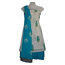 Surabhee Kottonz Handwoven Superior cotton dress material-white/blue