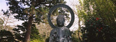 Statue Of Buddha In A Park, Japanese Tea Garden, Golden Gate Park, San Francisco, California, Usa High Quality Museum Wrap Canvas Print Panoramic Images 36X12