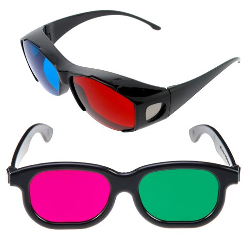 GTMax 3D Red/Cyan Glasses-Black Cover Style +3D