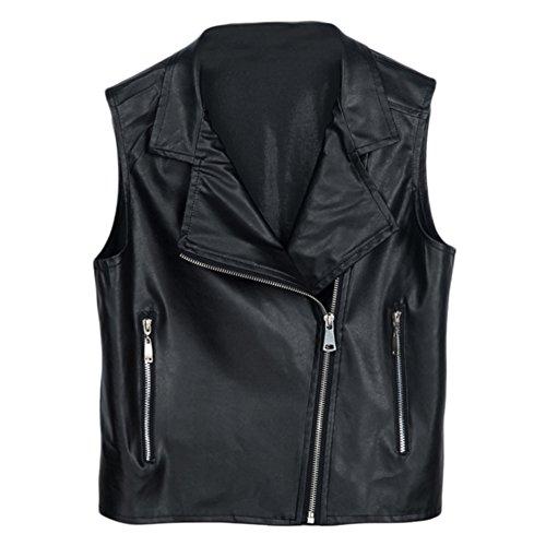 Fashion da donna smanicato sottile con zip in pelle sintetica PU Giacca Stile Biker Giacca Moto Donna Outwear abbigliamento autunno e inverno vestiti 4misure Black XL