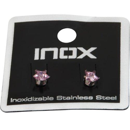 4mm -Inox Jewelry Women's Stainless Steel Pink Cubic Zirconia Stud Earrings