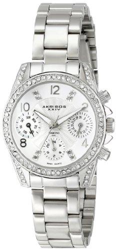 Akribos XXIV Women's Lady Diamond Swiss Quartz Multifunction Diamond & Crystal Silver-tone Bracelet Watch