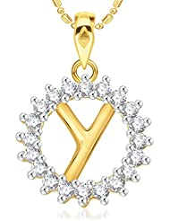 "VK Jewels Alphabet Initial Letter ""Y"" Gold And Rhodium Plated Alloy Pendant With Chain For Men & Women- P1971G..."