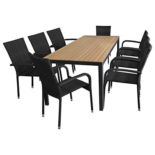 Sedie Da Giardino Finto Vimini.Gruppo Seduta 9 Pz Arredamento Da Giardino Tavolo In Polywood