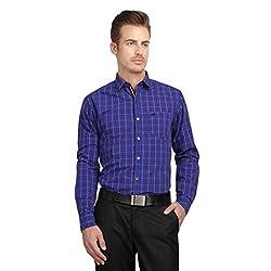 British Line Purple Color Checked Slim Fit Shirt