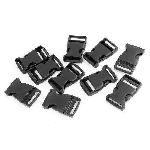Plastic Safety Quick Release Buckles 1 Inch 2.5cm Width 10 Pcs Black