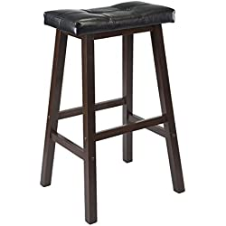 Winsome Mona 29-Inch Cushion Saddle Seat Stool, Black, Faux Leather, RTA
