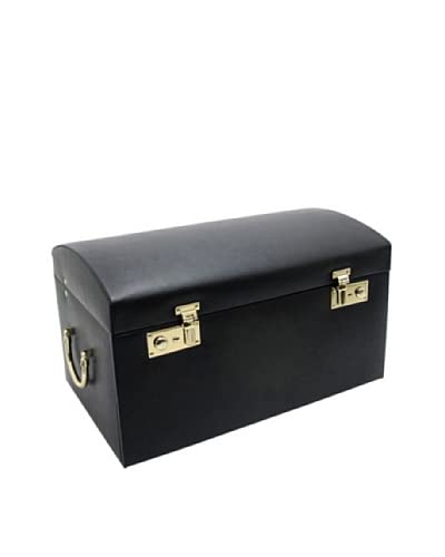Morelle & Co. Marylyn Leather Jewelry Chest with 3 Takeaway Cases, Black