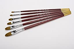 Artist Paint Brush Set Nylon Imitate Weasel Filbert Hair,Brass Ferrule,Long Wooden Handle,Painting Brushes For Oil Acrylic Gouache Watercolor