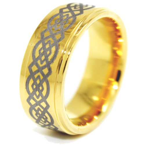 Blue Chip Unlimited - Unisex 8mm 18k Gold Plated Tungsten Ring with Celtic Knot Design Wedding Band Designer Fashion Engagement Ring Size Z+4