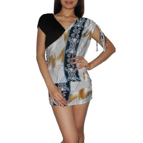 Women Thai Exotic Fashion Cute Stretchy Attached Sleeveless Mini Tank Dress - Size: L