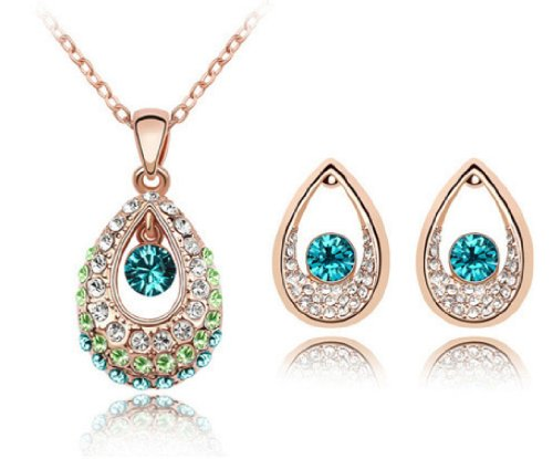 Nicedeco Je-Sw-Tz42-Blue N Green,Swarovski Elements Austrian Crystal Jewelry Sets,Tianzhu Princess Of Ancient China,Necklace And Earring(2-Piece Set),Elegant Style And Exquisite Craftsmanship