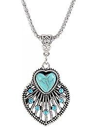 Glitz Trendy Collection Turquoise Gem Heart Fan Alloy Pendant Necklace For Women