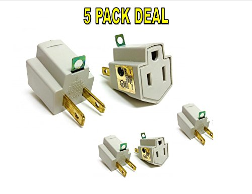 5 Pieces Electrical Ground Adapter 2 Prong Outlet To 3 Prong Plug Ac Ul Listed