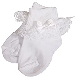 Baby Girls White Anklet Christening Sock Baptism Sock with Lace and Pearled Bow Medium