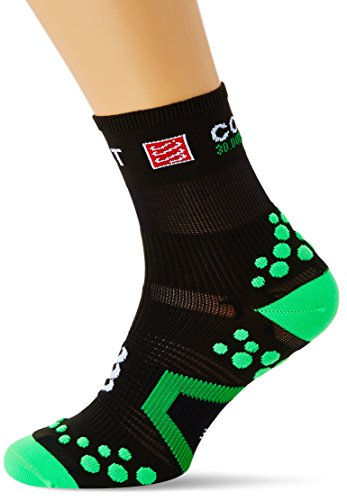 Compressport Racing Socks V2.1 Run Hi Calzino Corsa da Gara e Allenamento, Nero (Black/Green), T3
