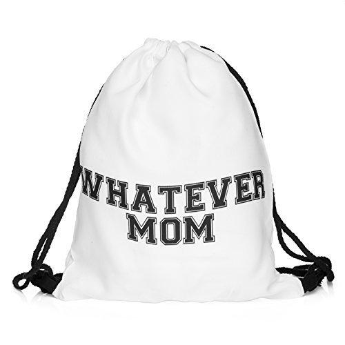 Sacchetto what ever mamma qualunque cosa sia madre Rebell stampa Stringbag sacchetto cordoncino, Statment Loomiloo BWM