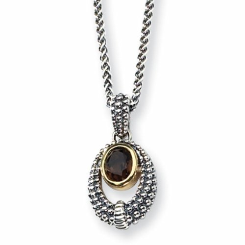 Sterling Silver w/Gold-plated 1.19ct Smokey Quartz 18in Necklace
