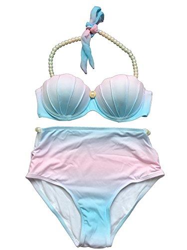 Tengweng Fashion Womens Gradient Color Shell Pearl Halter Push Up Bikini Set Swimsuit S