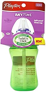 Playtex Lil' Gripper/Anytime Straw Cup, 9 Ounce, Colors May Vary (Discontinued by Manufacturer)