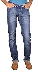 Fashionable Splicing Pockets Design Casual Ffreak Dark Blue Jeans For Men