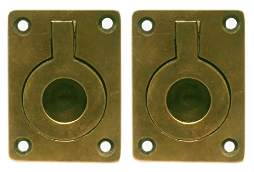 Nesha Antique Style Recessed Ring Pulls 2 Pack (Brass Ring Drawer Pulls compare prices)