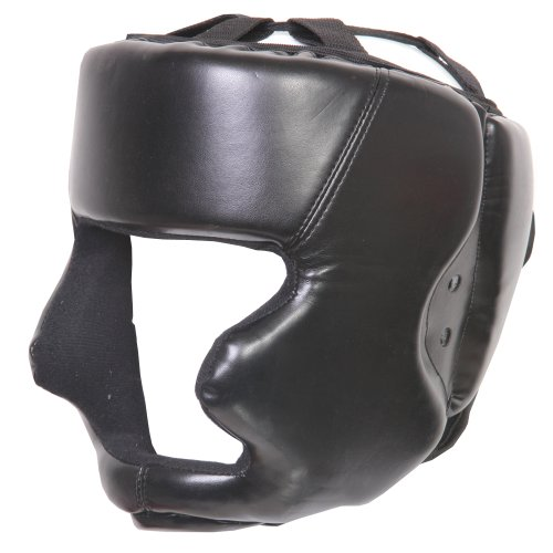 FG black junior Kickboxing / Boxing Head Guard Face Cheek and Chin Protection martial arts equipment.