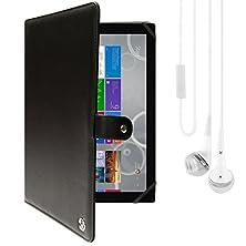 buy Vangoddy Arthur 11.6-Inch Tablet Portfolio Case For Insignia Flex Ns-P11W6100 With White Headphones (Black)