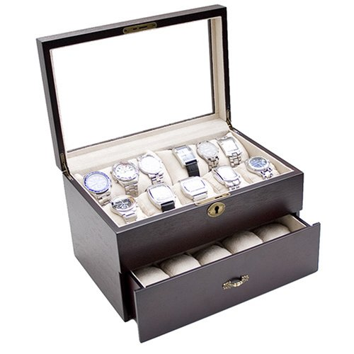 Vintage Dark Walnut Finish Wood Clear Glass Top Watch Display Storage Case Chest Holds 20+ Watches With Adjustable Soft Pillows and High Clearance for Larger Watches.