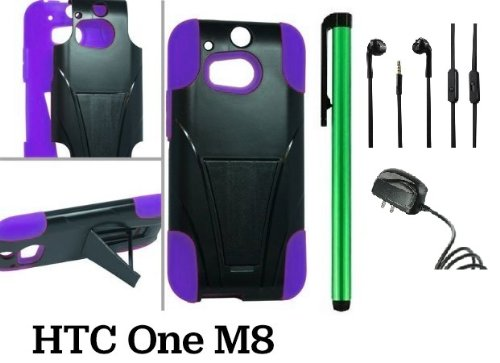 Htc One (M8) Premium Pretty T-Stand Design Protector Hard Cover Case (2014 Q1 Released; Carrier: Verizon, At&T, T-Mobile, Sprint) + Travel (Wall) Charger + 3.5Mm Stereo Earphones + 1 Of New Assorted Color Metal Stylus Touch Screen Pen (Purple / Black)