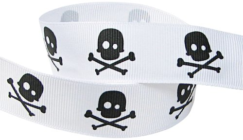 HipGirl Printed Grosgrain Skull Ribbon, 5-Yard 7/8-Inch, White/Black (Dora Shower Head compare prices)