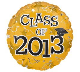 "Amazon.com: Class Of 2013 Graduation Gold 18"" Mylar Foil Balloon"
