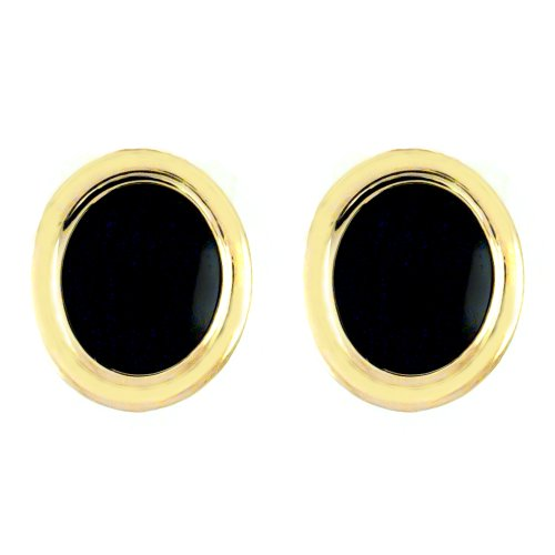 10k Yellow Gold 12 X 10 Oval Black Onyx Gold Trim Earrings