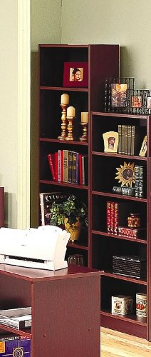 Cherry Finish Home Office Tall Five-Shelf Bookcase