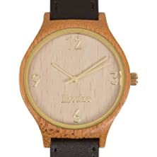 buy Woodies Gold Rimmed Bamboo Wood Watch With Black Leather Strap For Men And Women In Minimalist Design