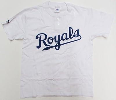 New Youth Majestic Kansas City Royals 2 Button White Baseball Shirt M