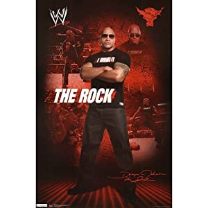 The Rock WWE Sports Poster Print - 22x34 custom fit with RichAndFramous Black 22 inch Poster Hangers