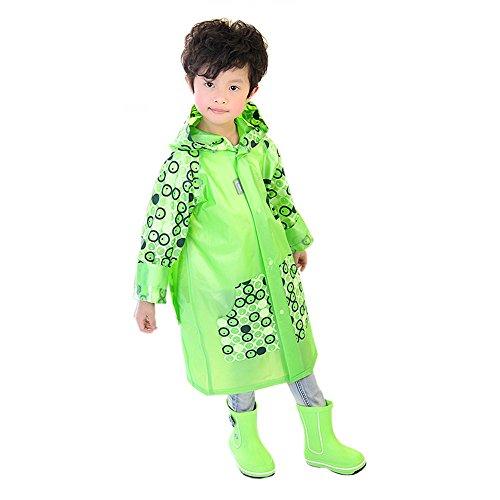 [Ezyoutdoor Unisex Kids Green Round Circles Children Hooded Raincoat Rain Jacket Poncho with School Bag Cover with Reflective Strip Children Raincoat Cartoon Poncho] (Super Mario Flower Power Costume)