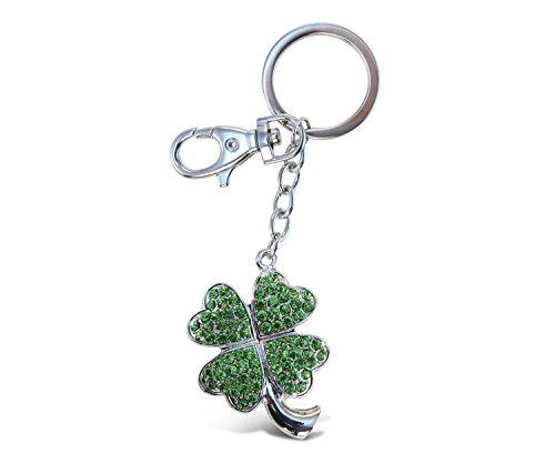 Puzzled 4 Leaf Shamrock Sparkling Charm Keychain