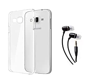 SAMSUNG Galaxy J7 MOCELL Transparent Hard Back Case Cover With 3.5mm Super Sound Quality Earphone with Mic Combo