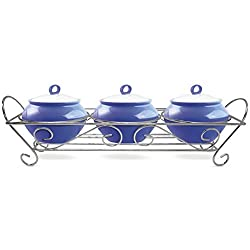 Treo Party Perfect Aroma Cass. 230 ML 3Pieces With Ceramic Lid And Stand - Blue(EC-CWF-FCP-0009_BLUE)