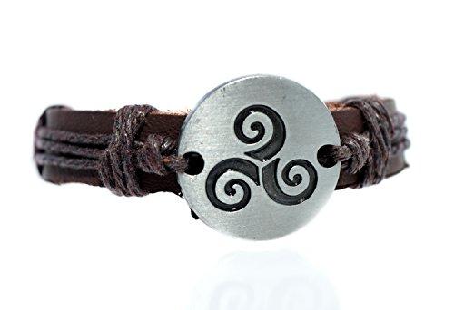 Teen Wolf Derek Hale's Triskelion-Bracciale a spirale in pelle, motivo lupo mannaro, con simbolo