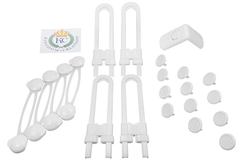 Cabinet-Lock-for-Child-Safety-21-Piece-White-Unbreakable-Plastic-Locks-Child-Proofing-Kit-with-Adhesive-Safety-Catches-Baby-Proofing-Home-Safety-No-Tools-or-Screws-Needed
