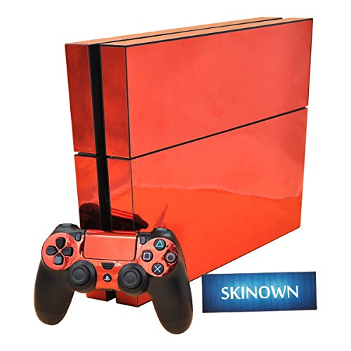 SKINOWN-PS4-Skins-Red-Gold-Glossy-Skin-Chrome-Red-Gold-Sticker-Vinly-Decal-Cover-for-Sony-PS4-PlayStation-4-Console-and-Controller
