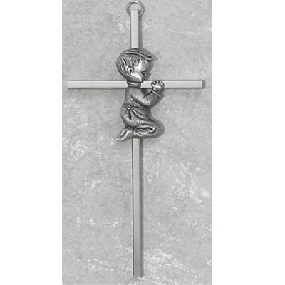 "Made in America! 6"" Silver Boys Wall Cross Great for First Communion, Baby Shower, Christening or Baptism. - 1"