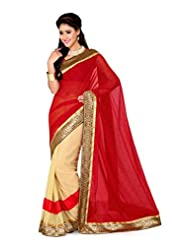 De Marca Beige And Red Art Silk Designer G-332 Saree
