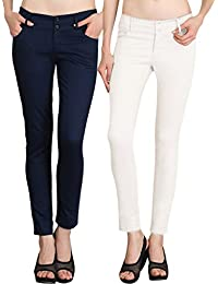NGT Womens Formal White And Navy Blue Trouser In Special Quality.